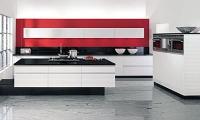 Кухня по поръчка в червено и бяло
