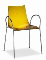 Дизайнерски стол прозрачно жълт