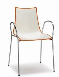 Дизайнерски стол бял с оранжев кант