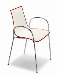 Дизайнерски стол бял с червен кант