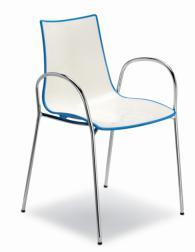 Дизайнерски стол бял със син кант