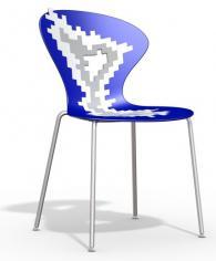 Дизайнерски стол синьо и сиво